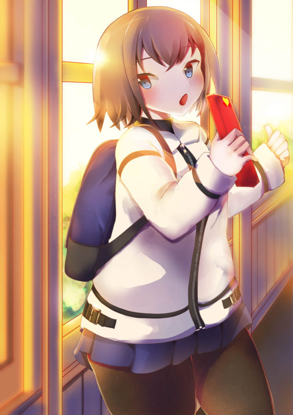 バレンタイン用チョコを持って待っている女の子